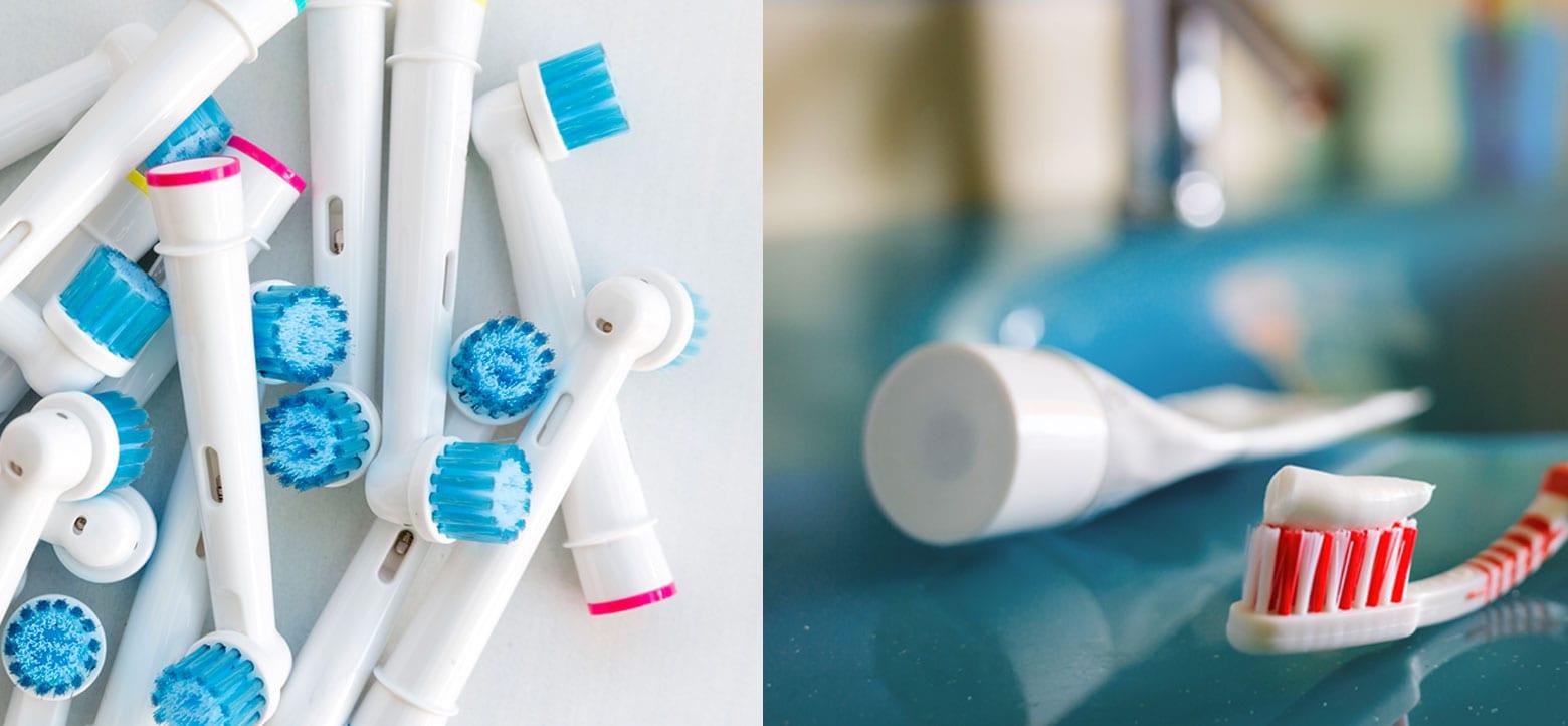 Eltandborsthuvuden och en vanlig tandborste med tandkräm på